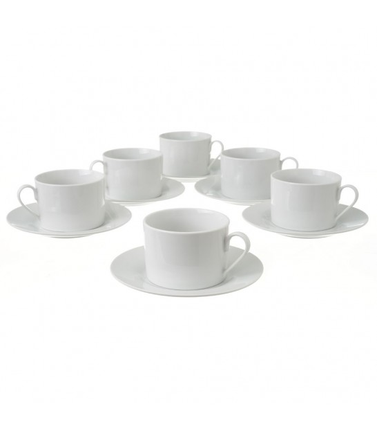 Set of 6 Coffee Cups White Porcelain