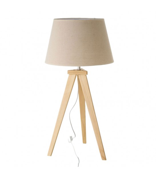 Table Lamp Wood and Beige Lampshade