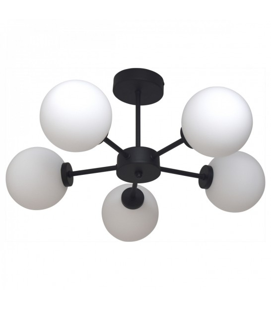 Ceiling Lamp Goden Metal and White Glass - 5 Globes