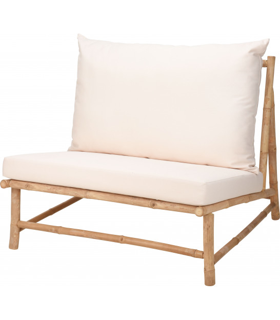 Armchair Bamboo and Beige Cushions