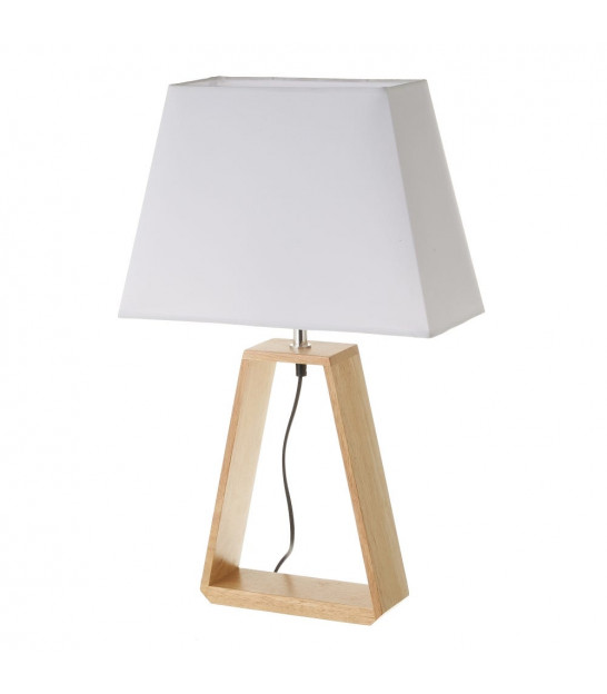 Table Lamp Triangle Wood and White Lampshade - Height 41cm
