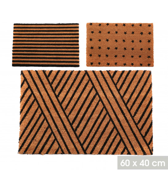 Set of 2 Coco Doormat Leaves and Flowers - 60x39x1.5cm