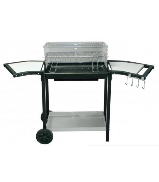Black Iron and Wood Barbecue - 84x45x87cm