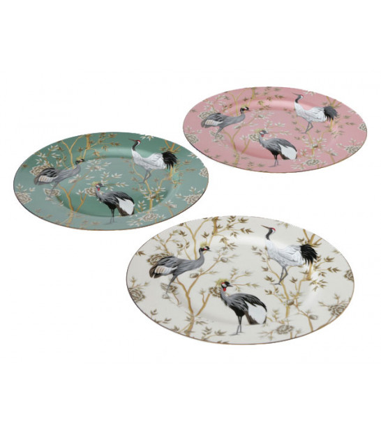 Set of 3 Dessert Plates Multicolore Flowers and Birds -d20cm