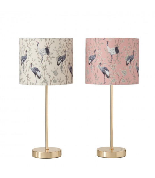Set of 2 Table Lamps Black Metal and Beige Lampshades