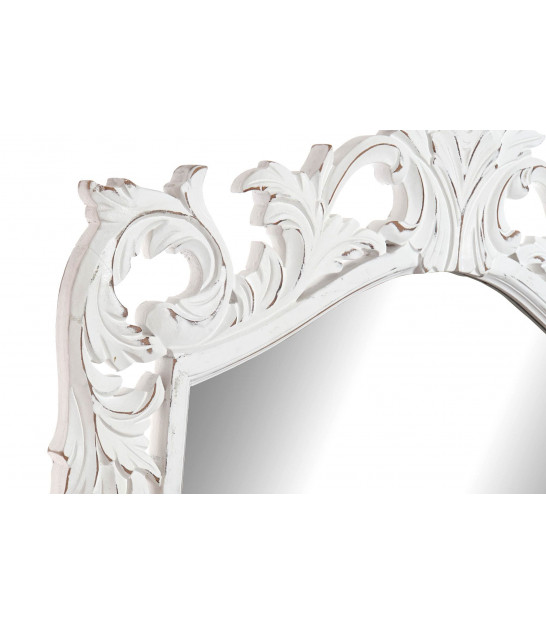 Classical Wall Mirror White Wood