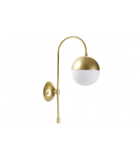 Wall Lamp Metal Gold and White Glass Globe
