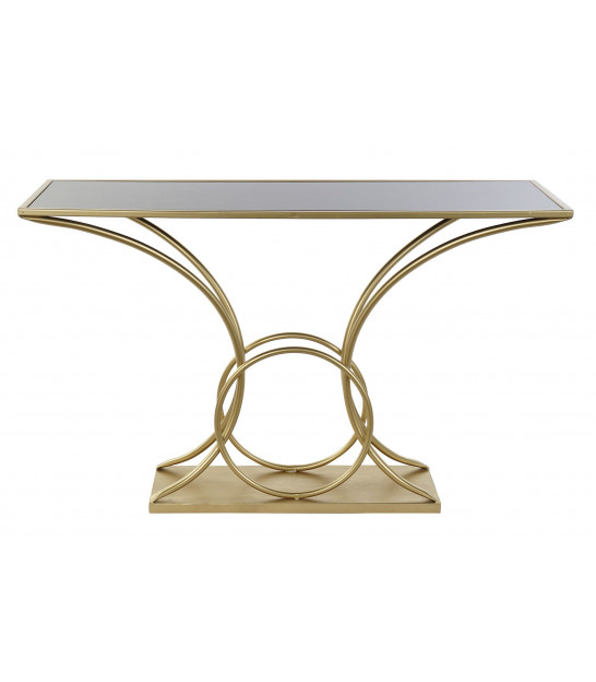 Entrance Console Golden Metal and Black Marble