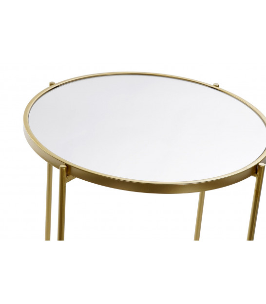 Round Side Table Golden Metal and Glass