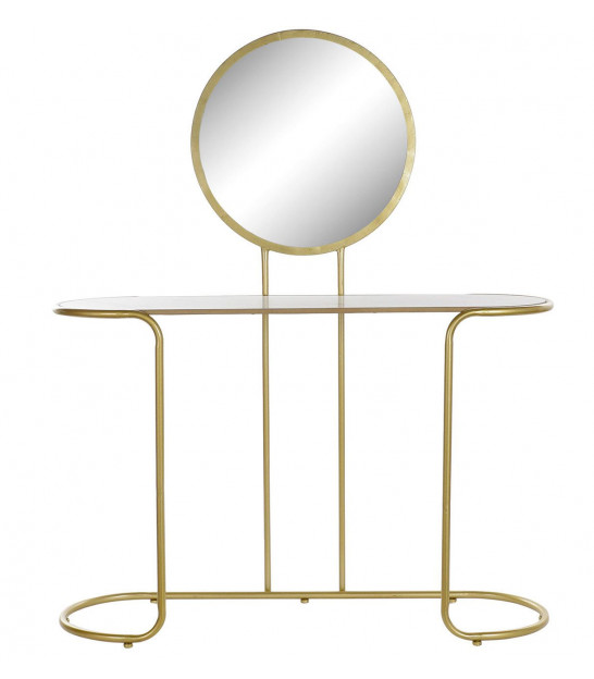 Wooden Dressing Table with Gold Metal