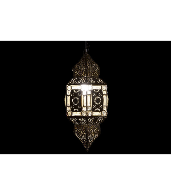 Ceiling Lamp Gold Metal and Glass Oriental