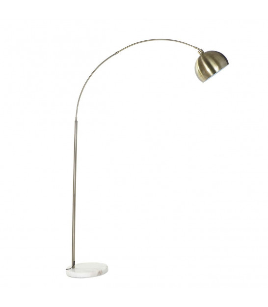 Floor Lamp Gold and Black Metal with White Marble Base