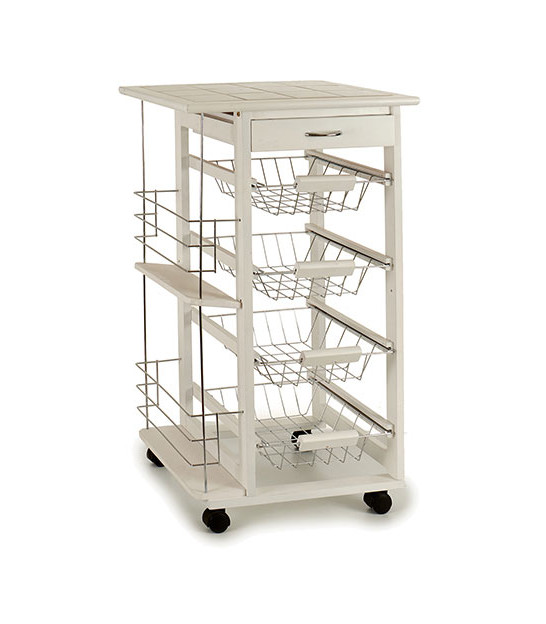 Kitchen Side Table on Wheels White