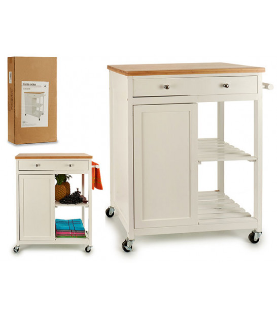 Kitchen Side Table on Wheels Wood White