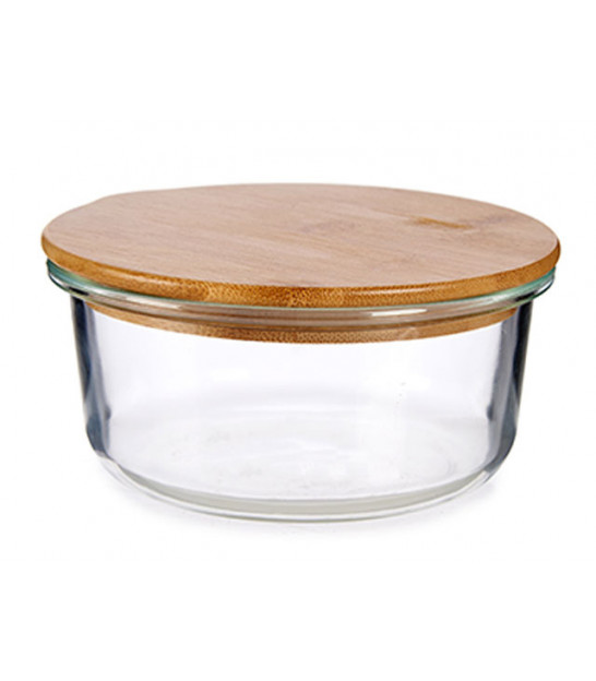 Round Kitchen Storage Box Transparent Glass and Bamboo - 95cl