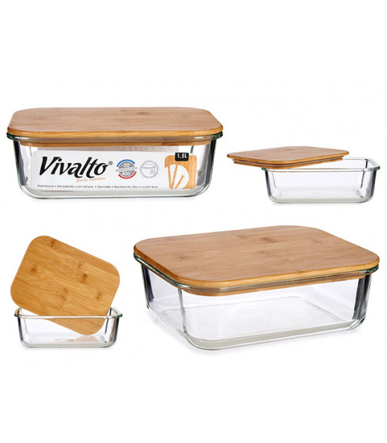 Round Kitchen Storage Box Transparent Glass and Bamboo - 62cl