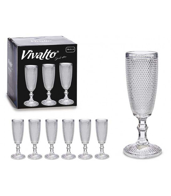 Set of 6 Champagne Flutes Diamond