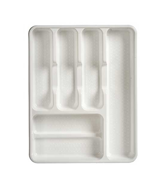 White Plastic Cutlery Tray 6 Compartments