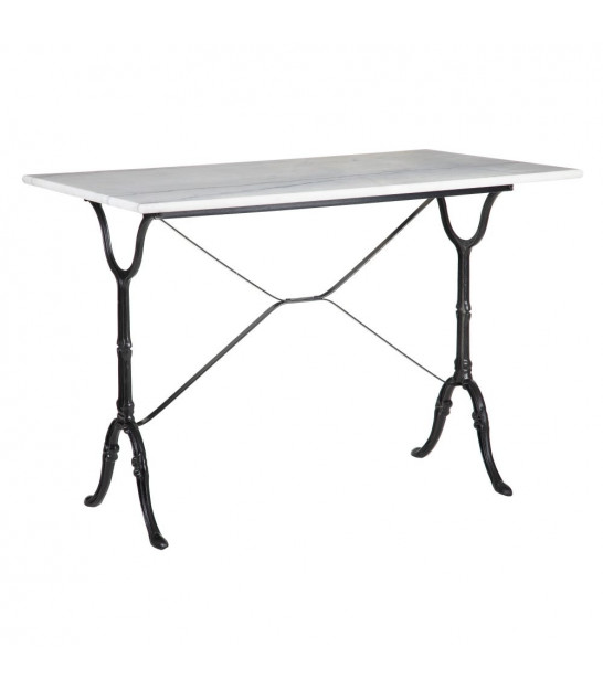 Dining Table White Marble and Black Metal - 100x60cm