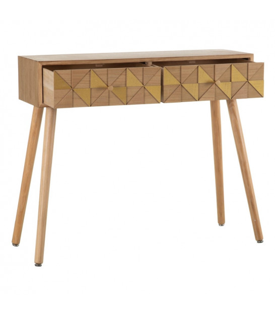 Console Table Black Metal and Wood