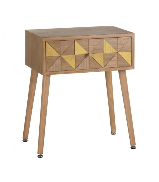 Bedside Table Wood and Gold