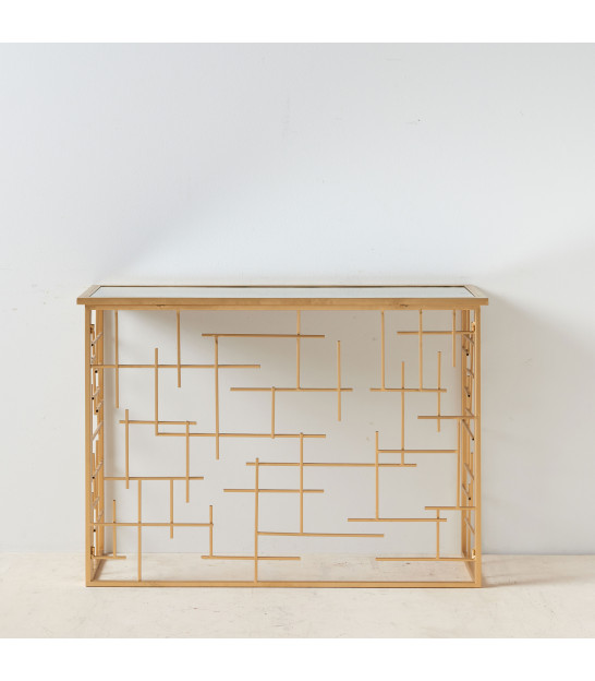 Entrance Console Golden Metal and Mirror Foliage