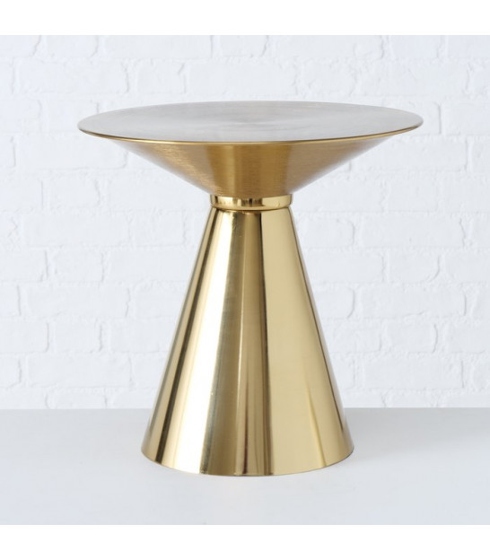 Round Side Table Golden Metal and Mirror