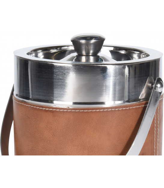 Champagne Bucket with Brown Fake Leather Handle