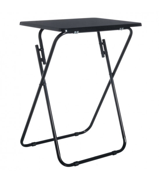 MDF Wood and Metal Foldable Black Table