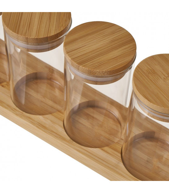 Set of 6 Spice Glass Jars with Bamboo Lids