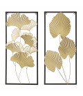 Wall Decoration Leaves Gold Metal