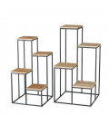 Plant Pot Stand Black and Wood -set of 2
