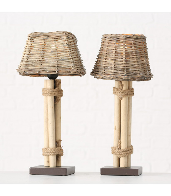 Set of 2 Table Lamps Gold Metal and Multicolor Lampshades
