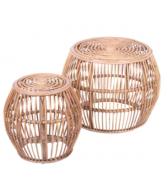 Set of 2 Coffee Tables Round Rattan