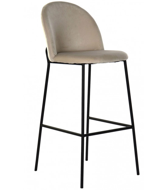 Bar Stool Metal and Beige Tissue