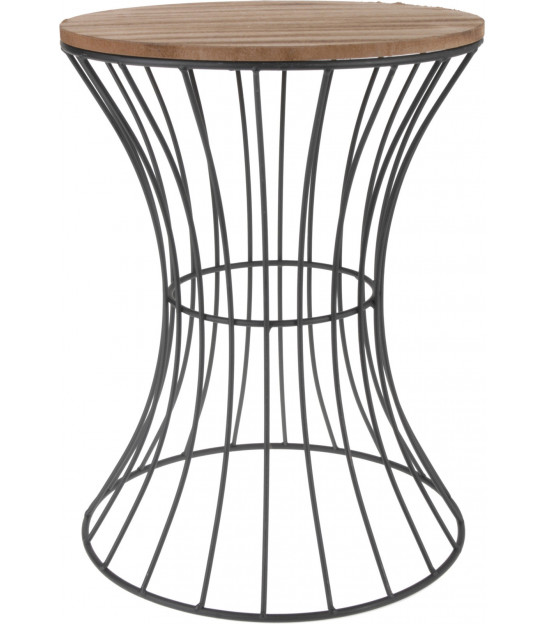 Round Side Table Wood and Gold Metal
