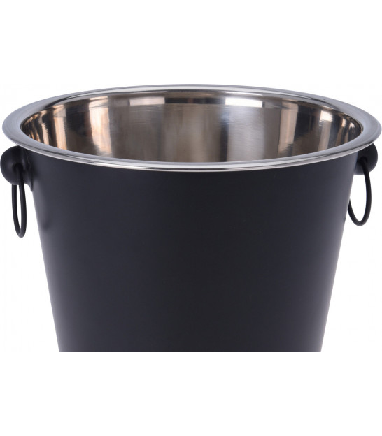 Ice Bucket with Brown Fake Leather