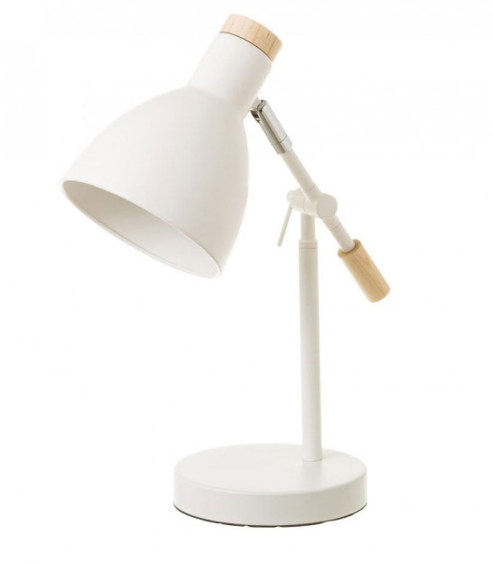 Desk Lamp Wood and White Metal - H36.5cm