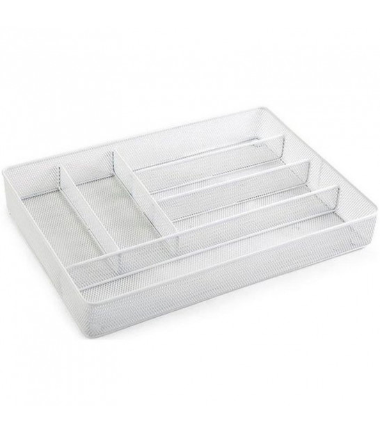 White Metal Cutlery Tray 6 Compartments