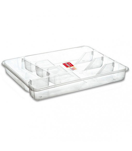 Transparent Plastic Cutlery Tray 5 Compartments