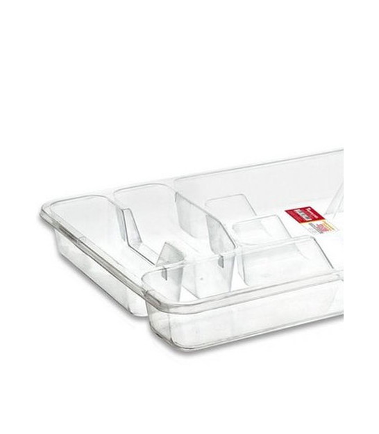Transparent Plastic Cutlery Tray 6 Compartments
