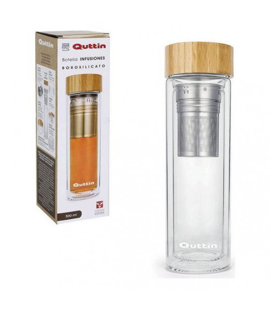 Transparent Water Bottle Glass with Bamboo Cap - 500ml