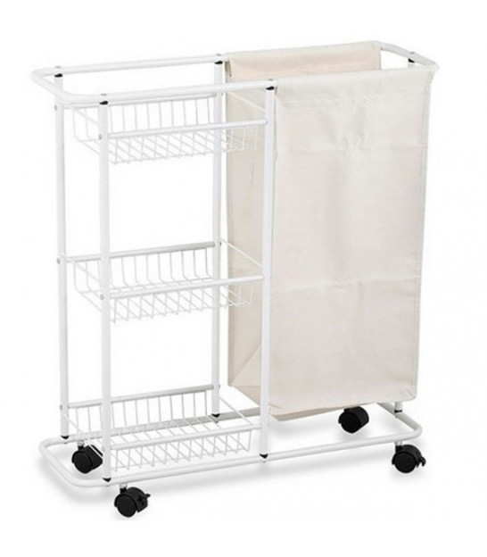 Laundry Basket Triple - Beige and White