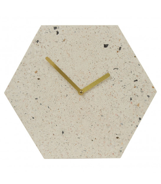 Wall Clock Metal White and Gold