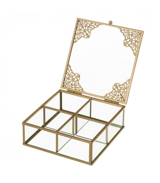 Jewelery Box Golden Metal and Glass