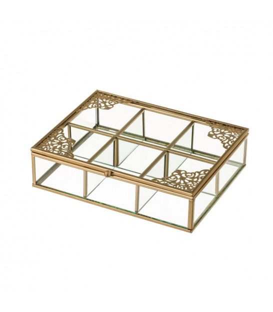 Jewelery Box Golden Metal and Glass 4 Compartments