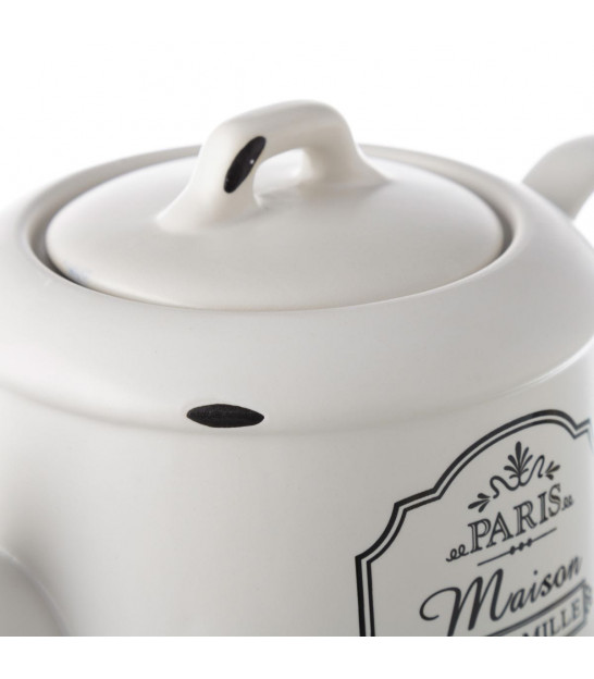 Teapot White and Gold Porcelain