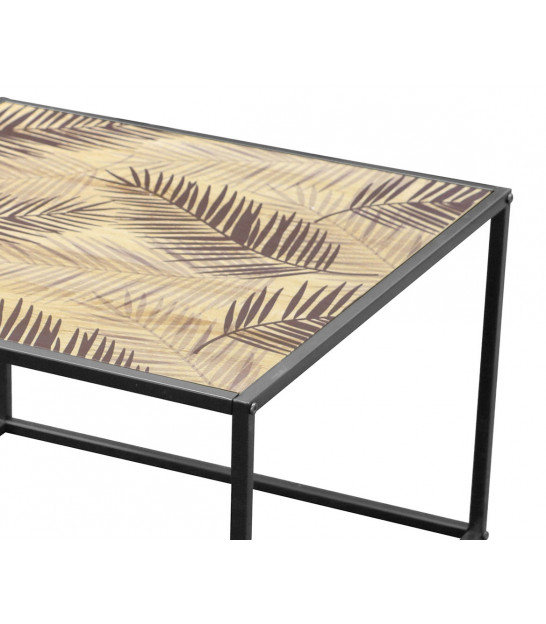 Set of 2 Coffee Tables Black Metal and MDF