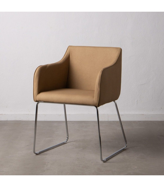Classic Armchair Brown Fake Leather