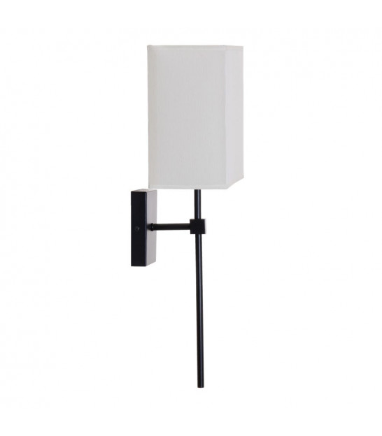 Wall Lamp Black Metal and Tissue Lampshade White and Black